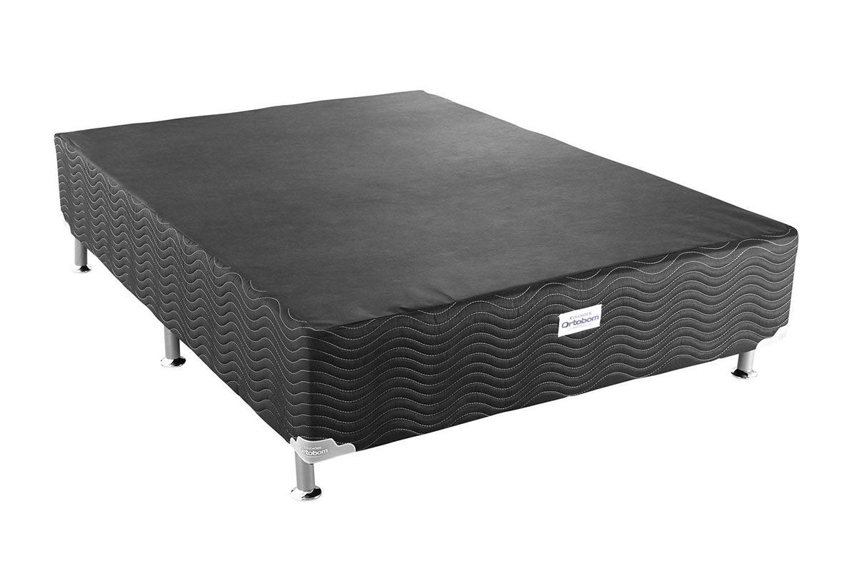Cama Box Base Ortobom Physical Black 20Cama Box Casal - 1,28x1,88x0,20 - Sem Colchão