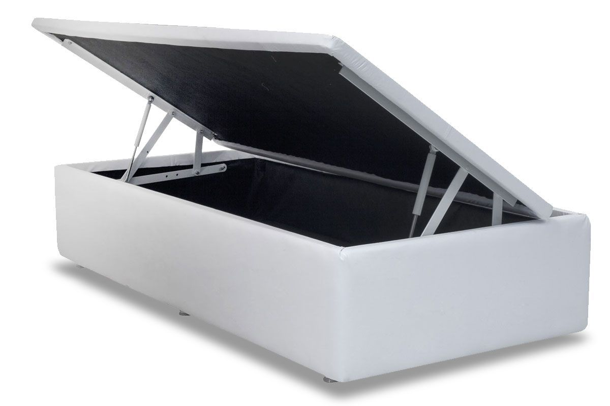Cama Box Baú Ortobom Courino White- Box Baú Physical Solteiro - 0,88x1,88 - Inteiriça