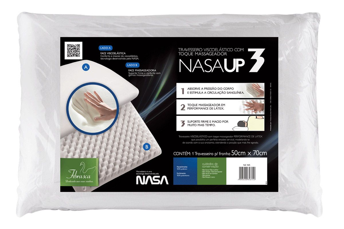 Travesseiro Fibrasca Nasa UP3 Duplaface Viscoelástico c/ Massageadorp/ Fronha 50x70